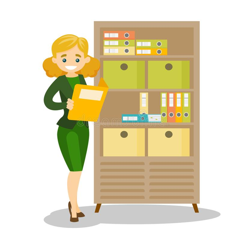 Caucasian office worker working with documents. Caucasian white office worker working with legal documents. Office worker standing next to the cupboard with stock illustration