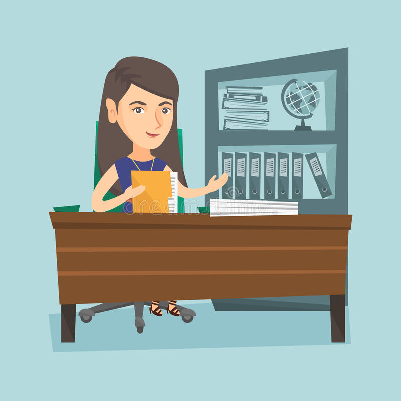 Caucasian office worker working with documents. Caucasian female office worker working with documents. Young female office worker sitting at the table with vector illustration