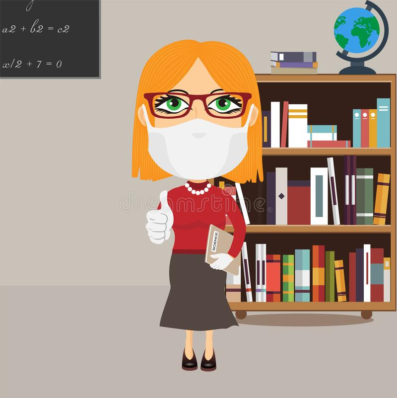Caucasian Old school female professor with mask and white gloves thumbs up grey science book grey skirt red jumper glasses in. Library. She also wears high vector illustration