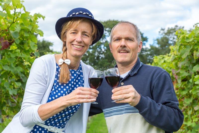 Caucasian par som rostar med exponeringsglas av rött vin i vingård royaltyfri foto