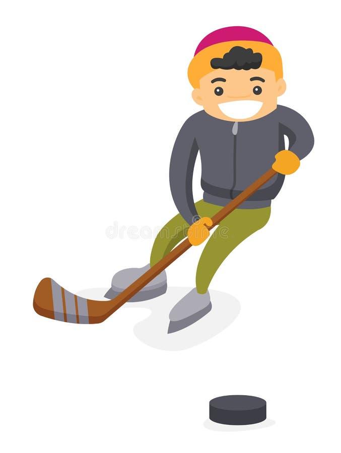 Caucasian pojke som spelar hockey på utomhus- isbana stock illustrationer