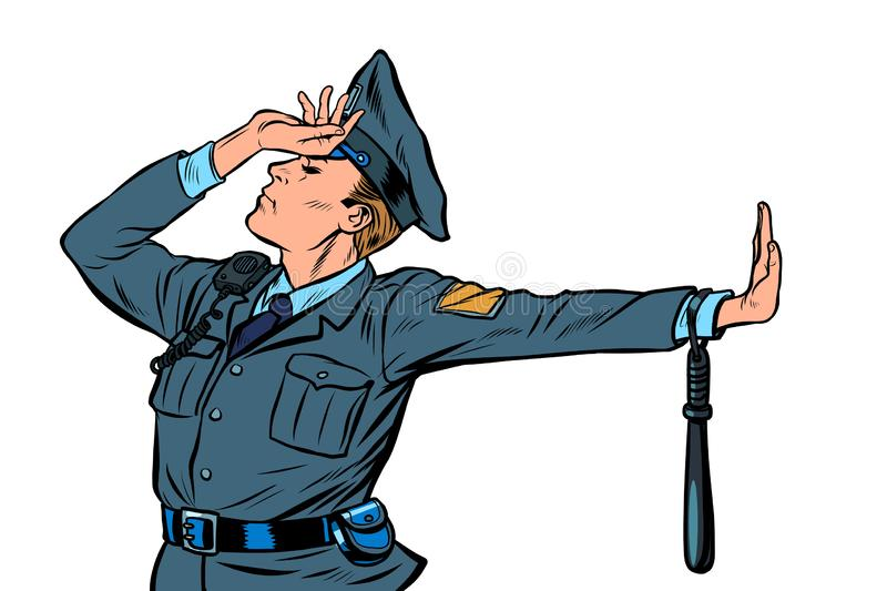 Caucasian police officer shame denial gesture no. Pop art retro vector Illustrator vintage kitsch drawing stock illustration