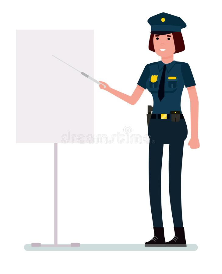 Caucasian police woman in uniform holding a pointer. Vector cartoon flat design illustration isolated on white. Caucasian police woman in uniform holding a royalty free illustration