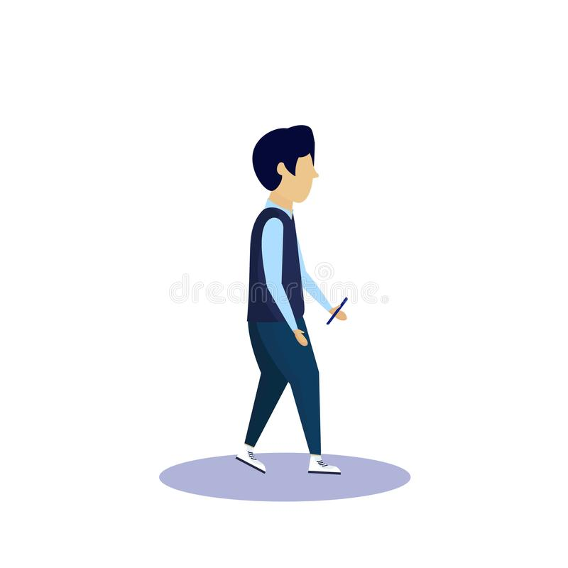 Caucasian school boy profile isolated using smartphone male cartoon character full length flat. Vector illustration vector illustration