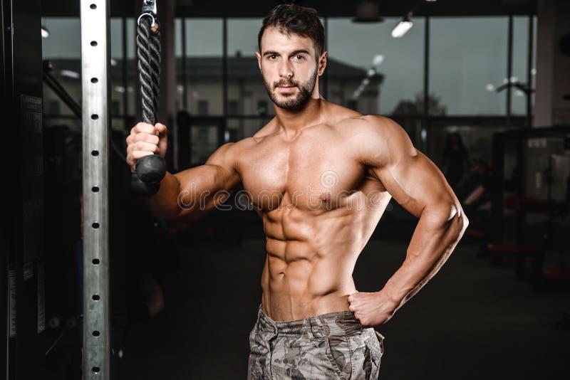 Caucasian sexig konditionmodell i idrottshallslut upp abs arkivbild