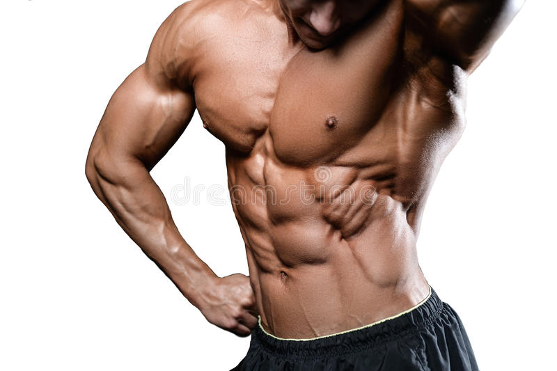 Caucasian Fitness Model In Gym Close Up Abs Stock Photo Image Of