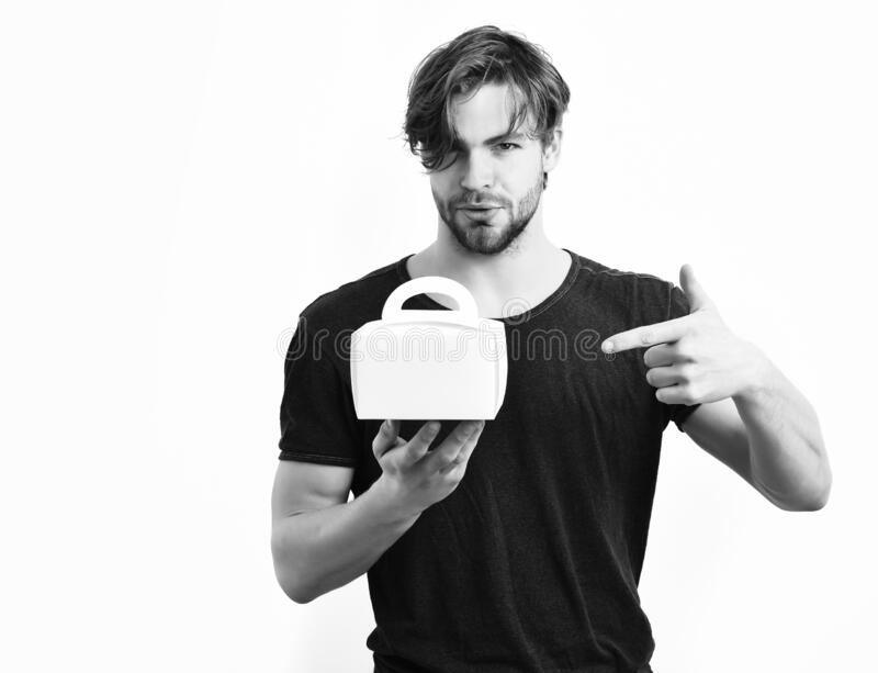Caucasian sexy young macho holding male box royalty free stock images