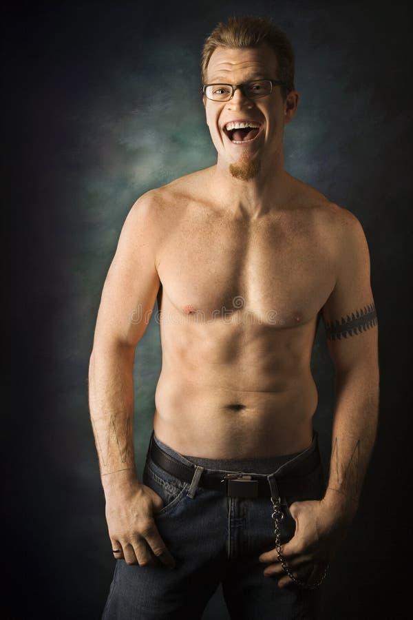 caucasian shirtless manstående arkivfoton