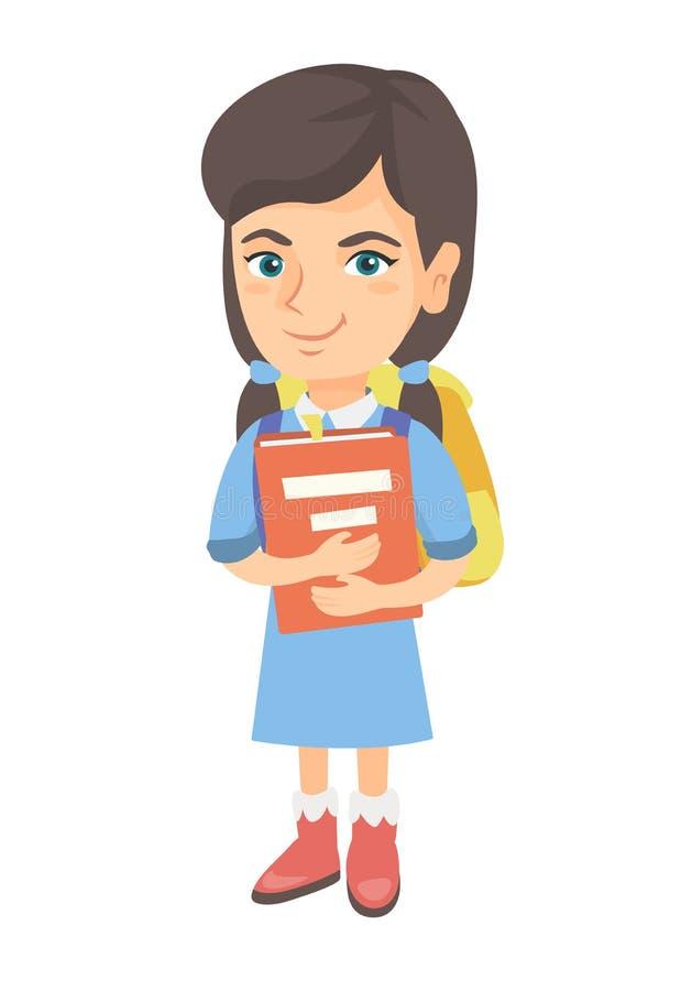 Caucasian skolflicka med ryggsäcken och läroboken stock illustrationer