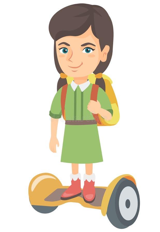 Caucasian skolflickaridning på gyroboard till skolan stock illustrationer