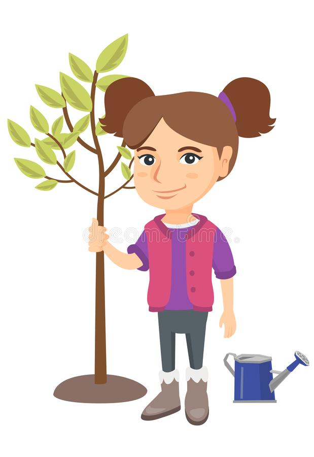 Caucasian smiling girl planting a tree. Eco-friendly girl standing near newly planted tree and watering can. Vector sketch cartoon illustration isolated on royalty free illustration