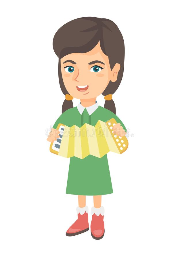 Caucasian girl playing the accordion. vector illustration