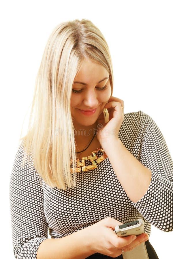 Caucasian smsa för blondin arkivbild