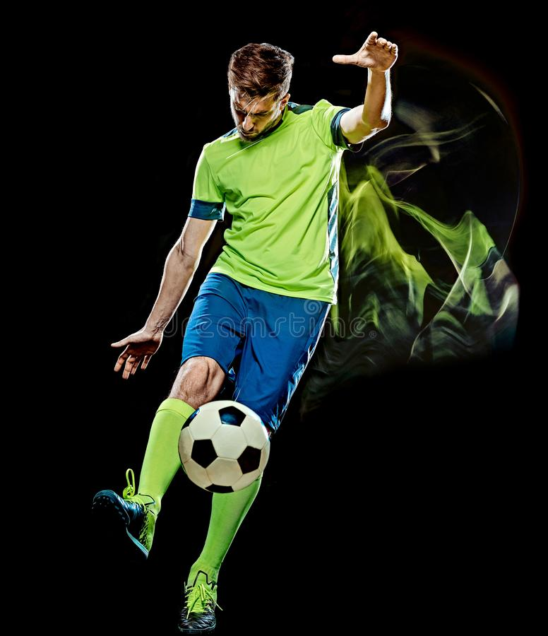 Caucasian soccer player man isolated black background light painting royalty free stock image