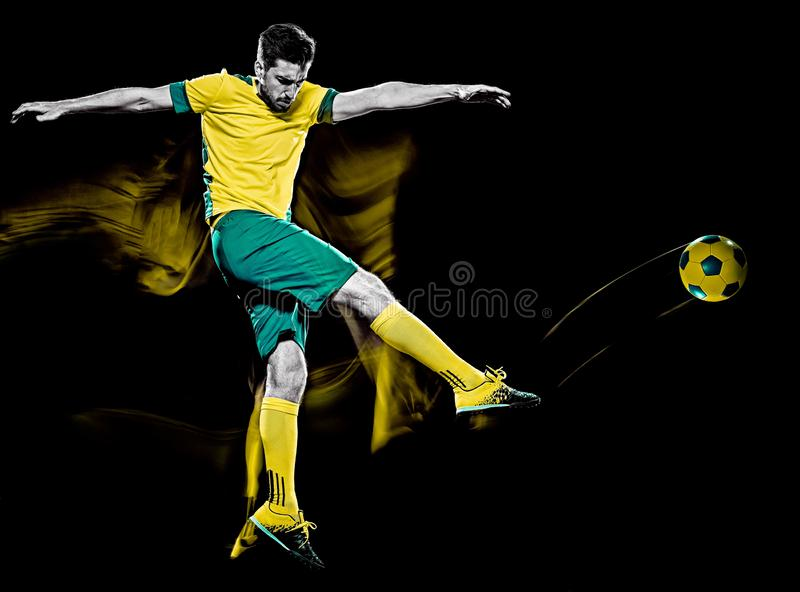 Caucasian soccer player man isolated black background light painting royalty free stock images