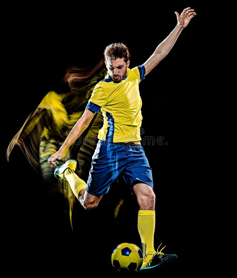Caucasian soccer player man  black background light painting royalty free stock images