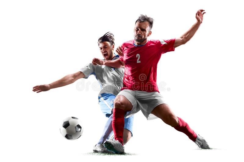 Caucasian soccer players isolated on white background. Caucasian soccer players isolated on the white background royalty free stock image