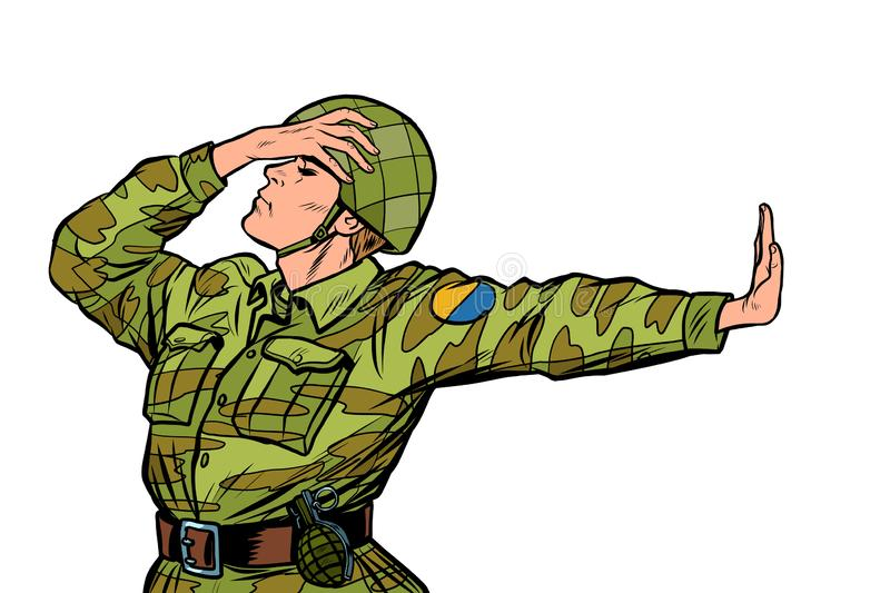 Caucasian soldier in uniform shame denial gesture no. anti militarism pacifist. Pop art retro vector Illustrator vintage kitsch drawing vector illustration