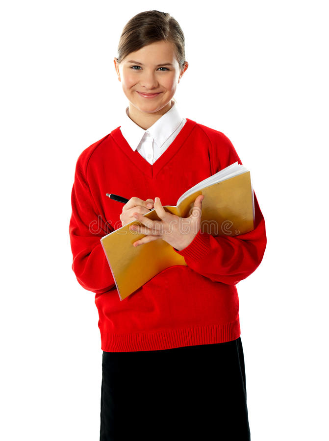 Download Caucasian Student School Girl Writing On Her Noteb Stock Image - Image: 24480455