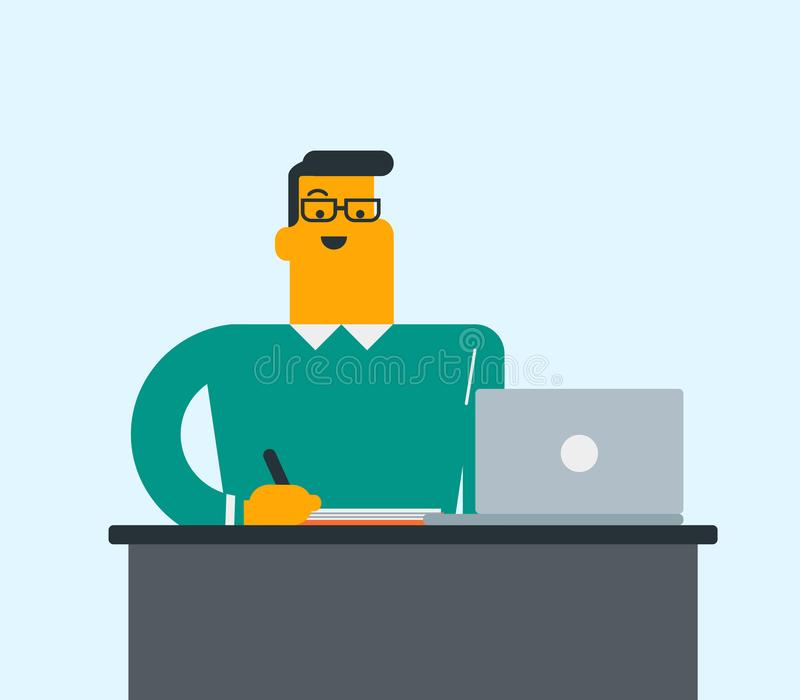 Caucasian student using a laptop for education. royalty free illustration