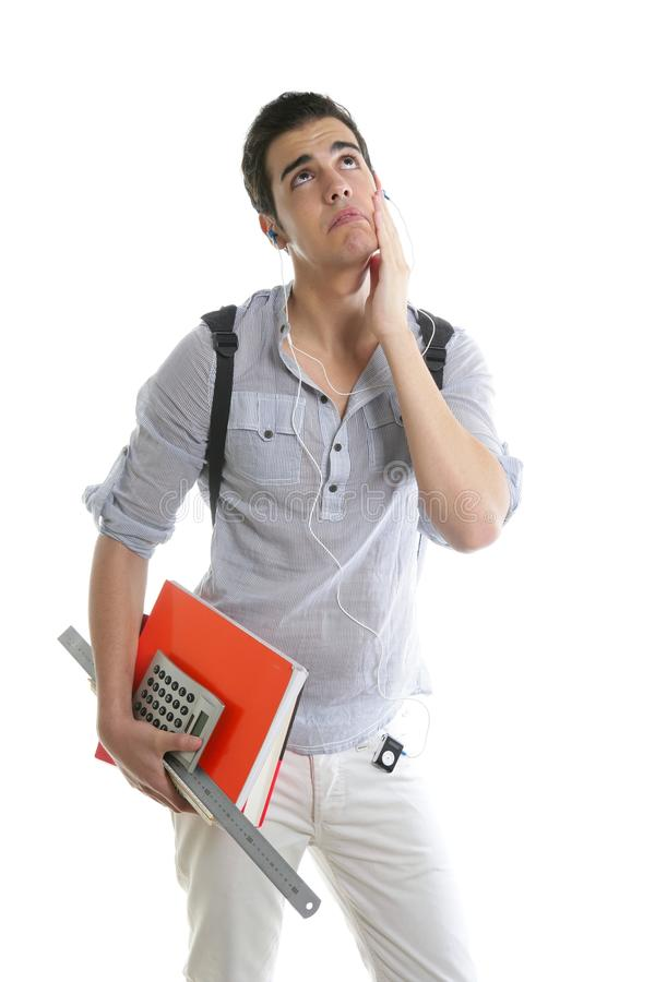 Caucasian Student Worried With Negative Gesture Stock Photography