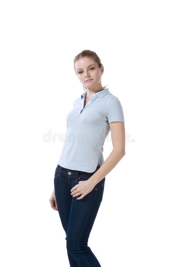 Download Caucasian Teenager In Jeans And Blue Polo T-shirt Stock Photo - Image: 16849446