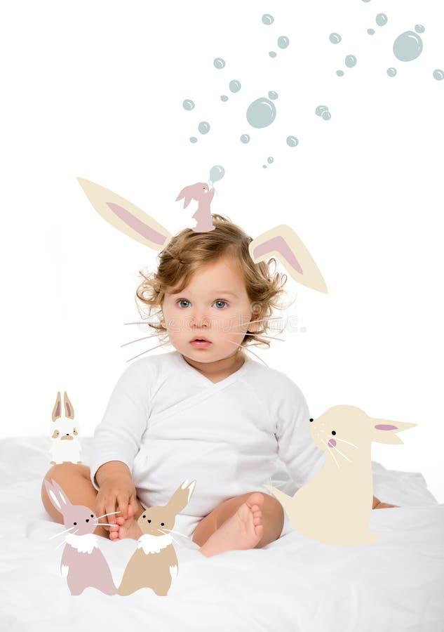 Caucasian toddler girl. Portrait of caucasian toddler girl looking away isolated on white stock illustration