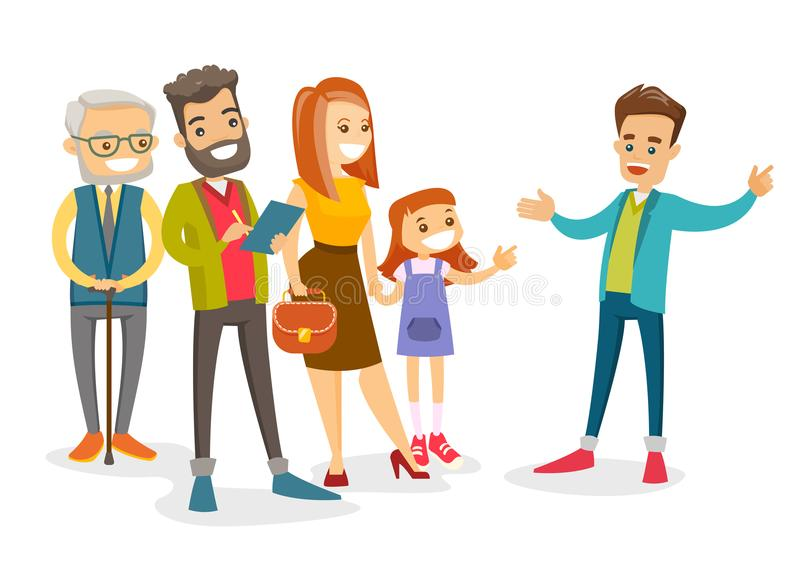 Caucasian tourists having excursion with guide royalty free illustration