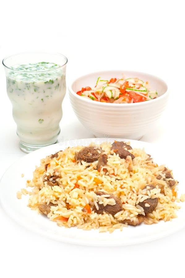 Caucasian Traditional Pilaf, Ayran And Salad. Royalty Free Stock Image