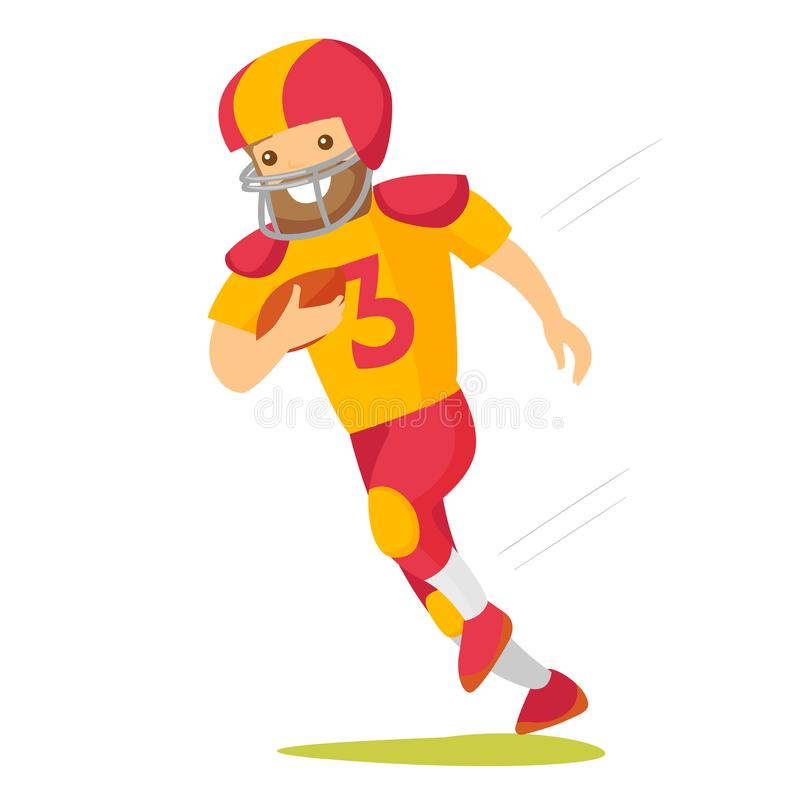 Caucasian vit rugbyspelarespring med bollen vektor illustrationer