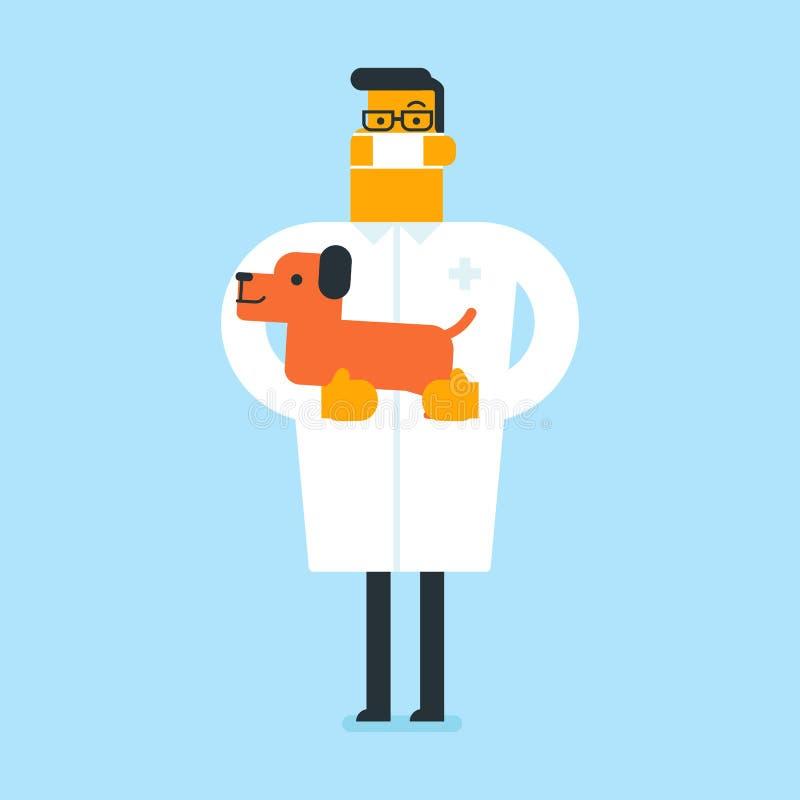 Caucasian vit veterinär med hunden i händer royaltyfri illustrationer