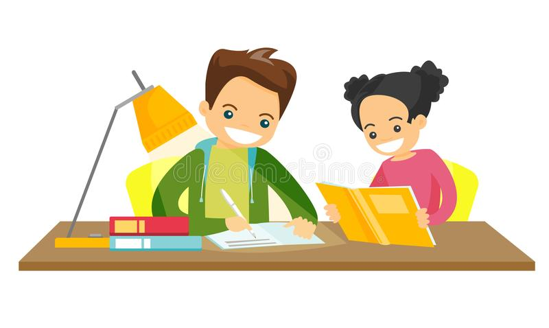 Caucasian white brother and sister doing homework. Young caucasian white brother and sister sitting at the table and doing homework at home together. Girl vector illustration