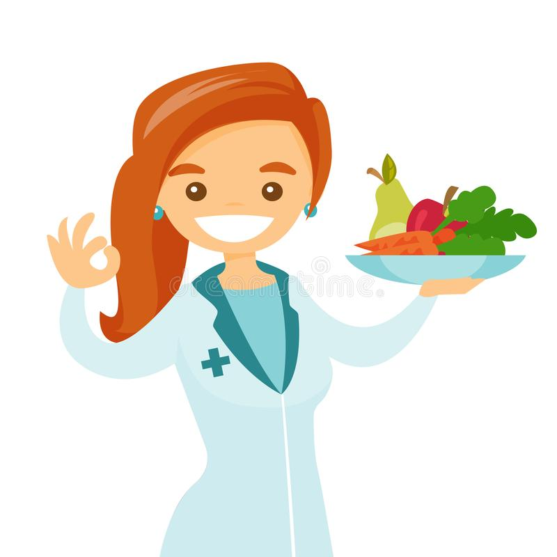 Caucasian white dietician offering healthy food. Caucasian white dietician holding plate with healthy food. Nutritionist prescribing diet and healthy eating royalty free illustration