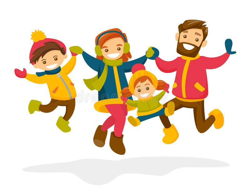 Caucasian family jumping in the snow in winter. vector illustration