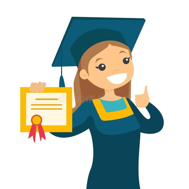 Caucasian white graduate giving thumb up. Caucasian white graduate in graduation cloak and hat giving thumb up. Female graduate showing diploma. Concept of royalty free illustration