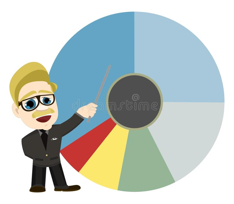 Western Man Presenter Analyst Pointing At Pie Char stock photography