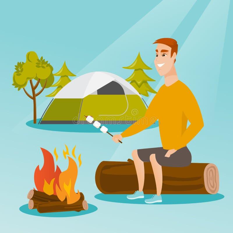 Download Caucasian Man Roasting Marshmallow Over Campfire Stock Vector
