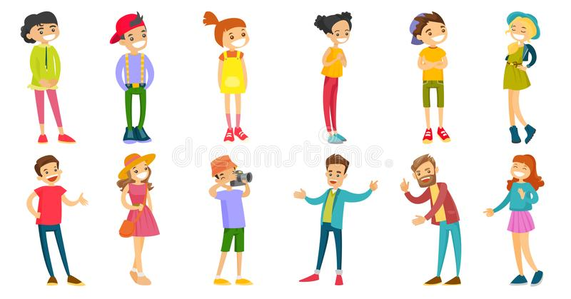 Caucasian white people vector illustrations set. stock illustration