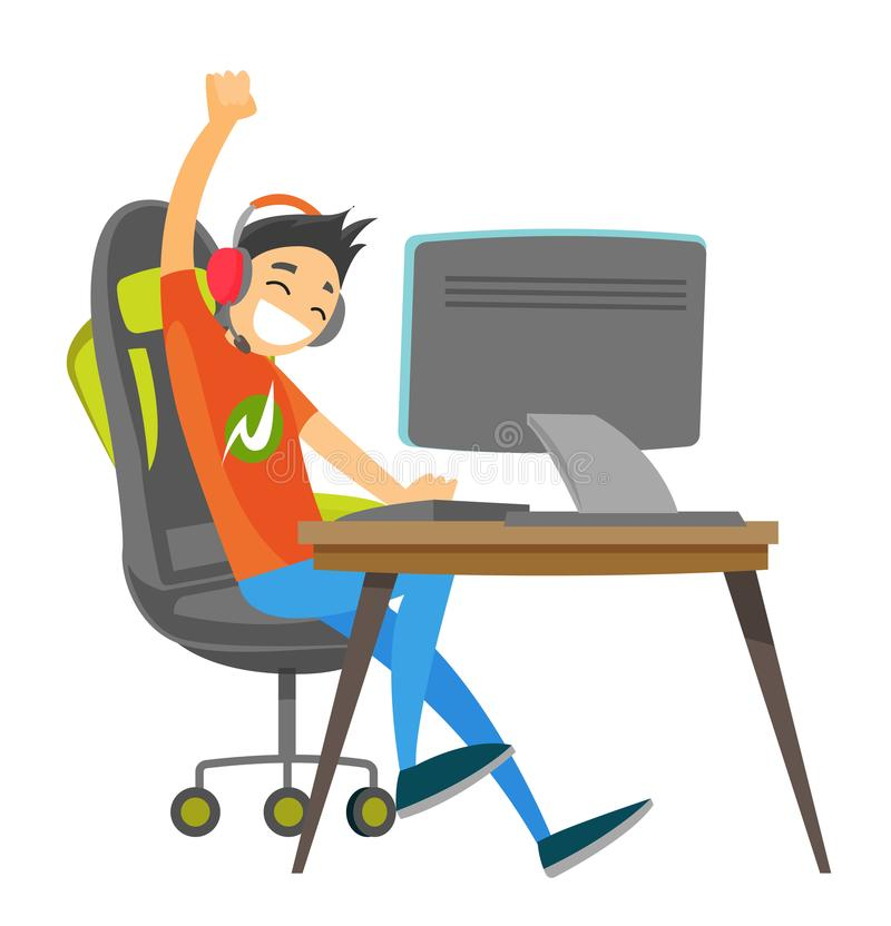 Young caucasian white gamer playing video game. Caucasian white teenage gamer in headset playing video game on a computer and celebrating victory. Technology stock illustration