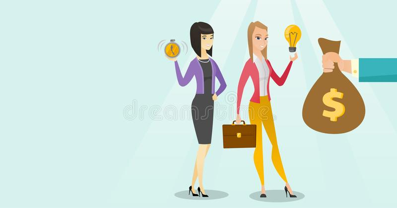 Caucasian white woman exchanging her idea to money vector illustration