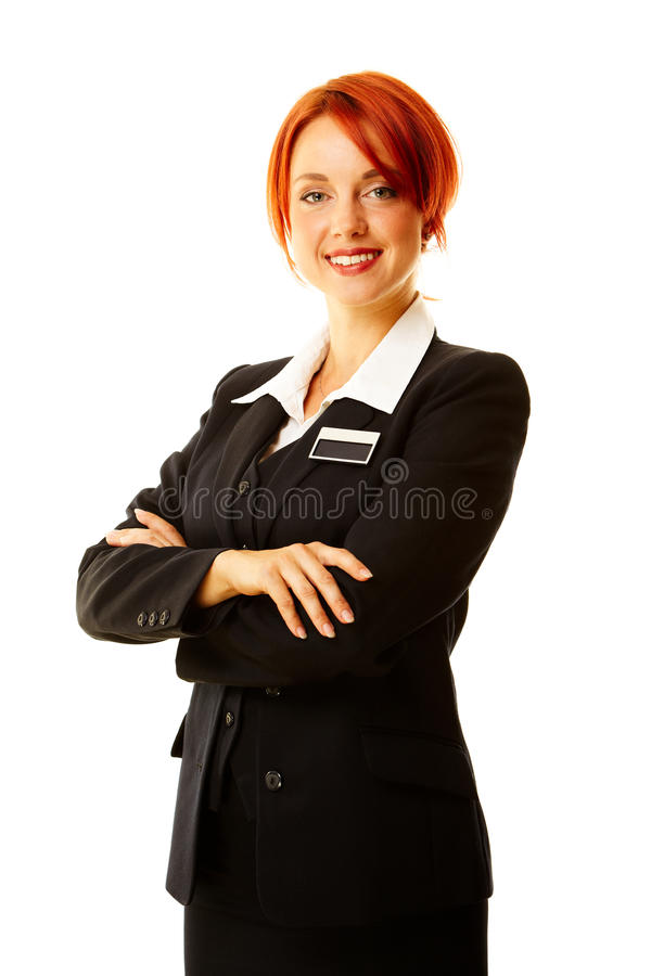 Caucasian woman as hotel worker royalty free stock photos