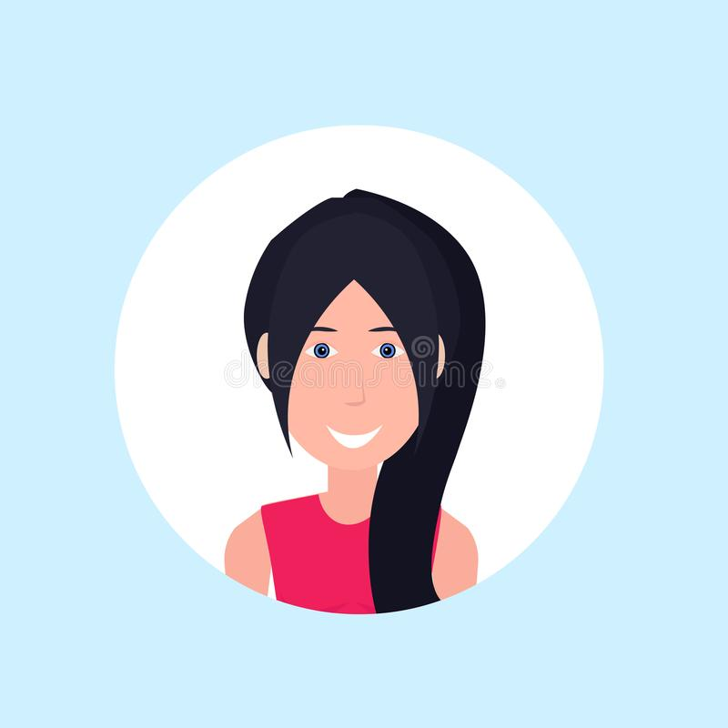 Caucasian woman face happy lady portrait on blue background, female avatar flat. Vector illustration vector illustration