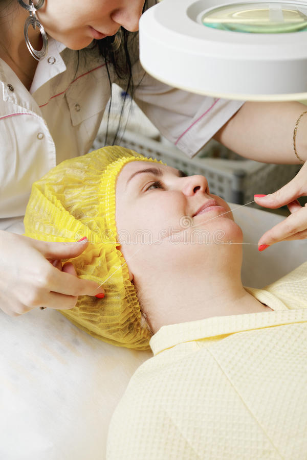 Download Caucasian Woman Getting Threading Procedure Stock Image - Image: 29542181