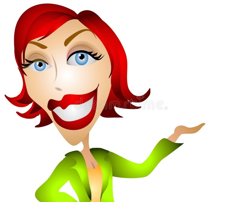 Caucasian Woman Holding Up. A clip art illustration of a red head caucasian woman holding her hand up. Could be used to hold a product of your choice which can vector illustration