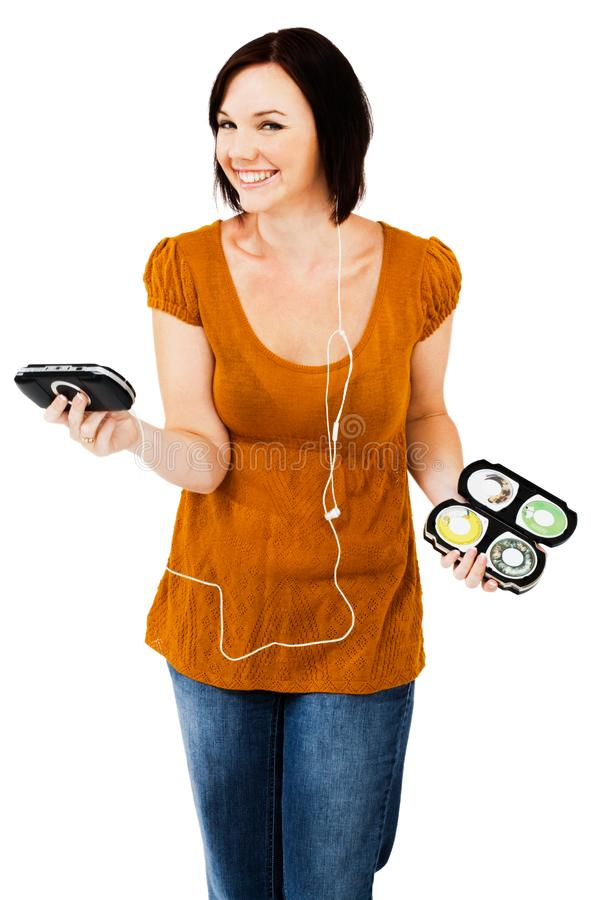 Download Caucasian Woman Listening Media Player Stock Photo - Image of media, happy: 10246200