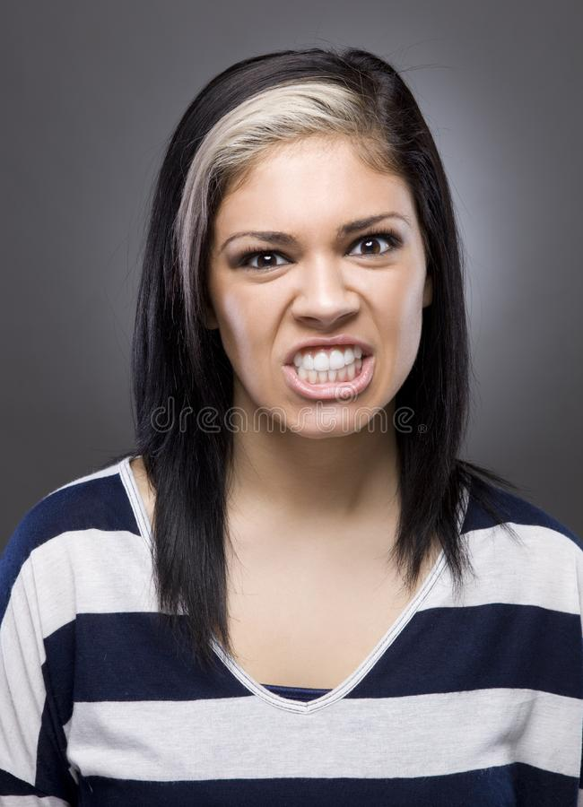 Download Caucasian Woman Looking Mad Stock Image - Image of frown, brunette: 23696597