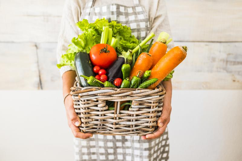 Caucasian woman people with bucket full of coloured and mixed fresh healthy food like fruit and vegetables royalty free stock photography