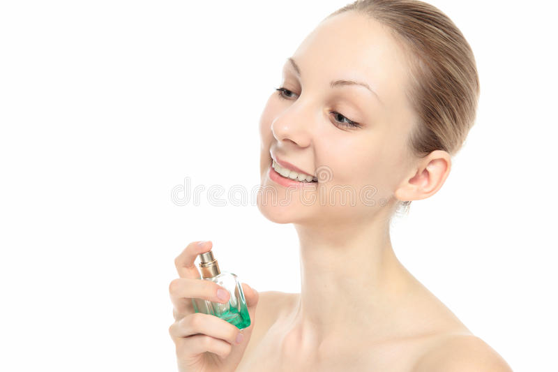 Caucasian Woman With Perfume Stock Images