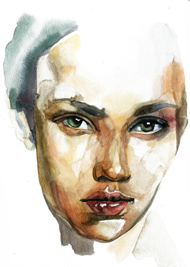Free Caucasian Woman Portrait Hand Drawn Watercolor Illustration Royalty Free Stock Photography - 168399607