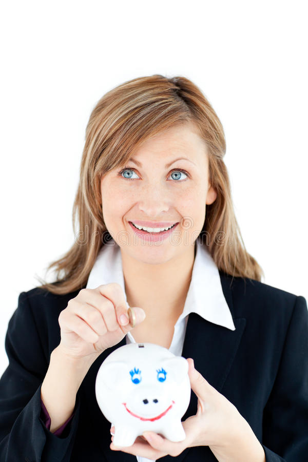 Download Caucasian Woman Putting Money In A Piggybank Royalty Free Stock Image - Image: 15438196